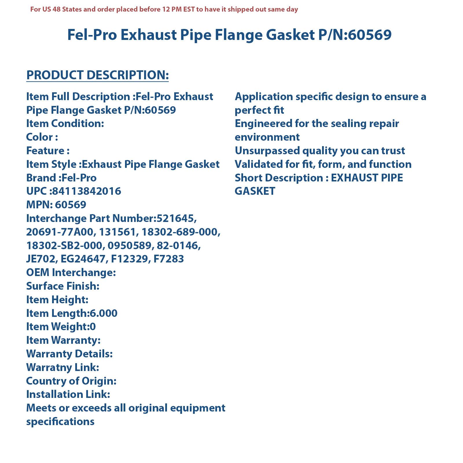 Fel-Pro 60569 Exhaust Pipe Flange Gasket