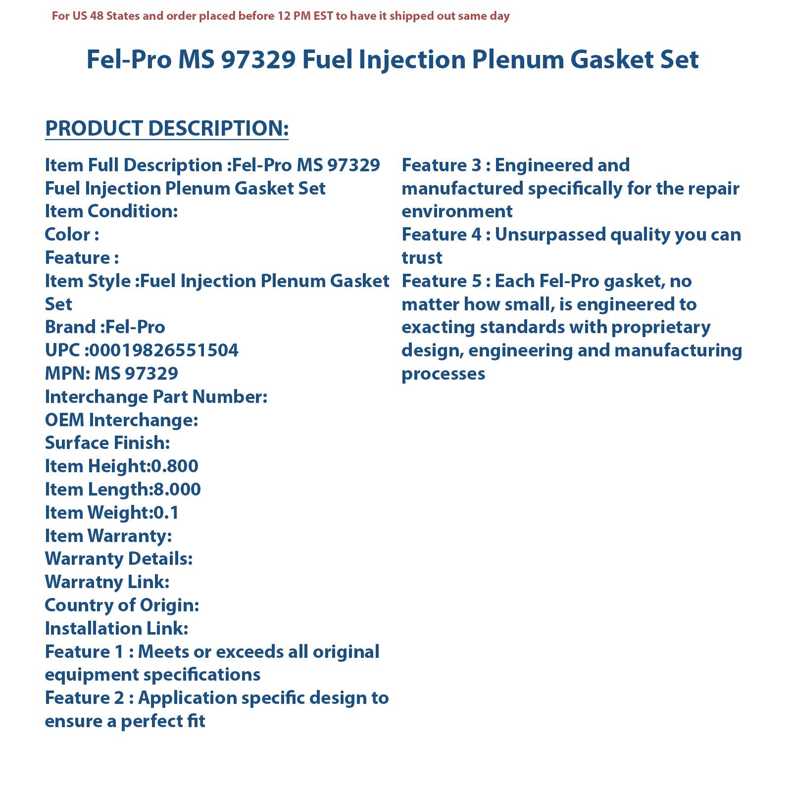 Fel-Pro MS 97329 Plenum Gasket