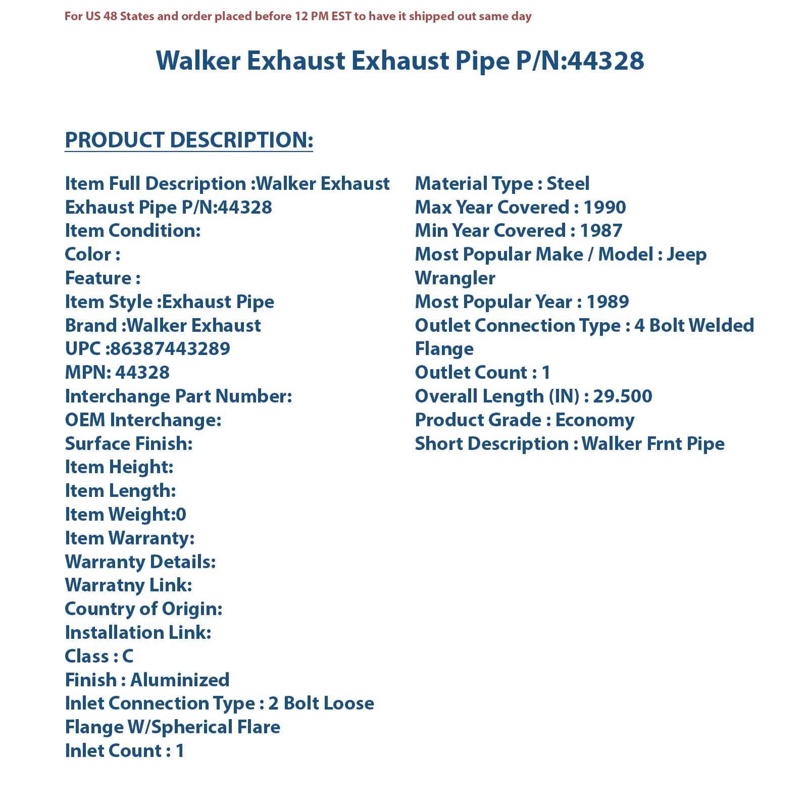 Walker 44426 Tail Pipe